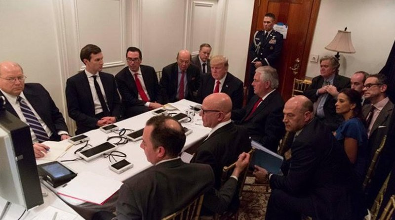 US President Trump briefed on the situation in Syria. Photo Credit: White House.
