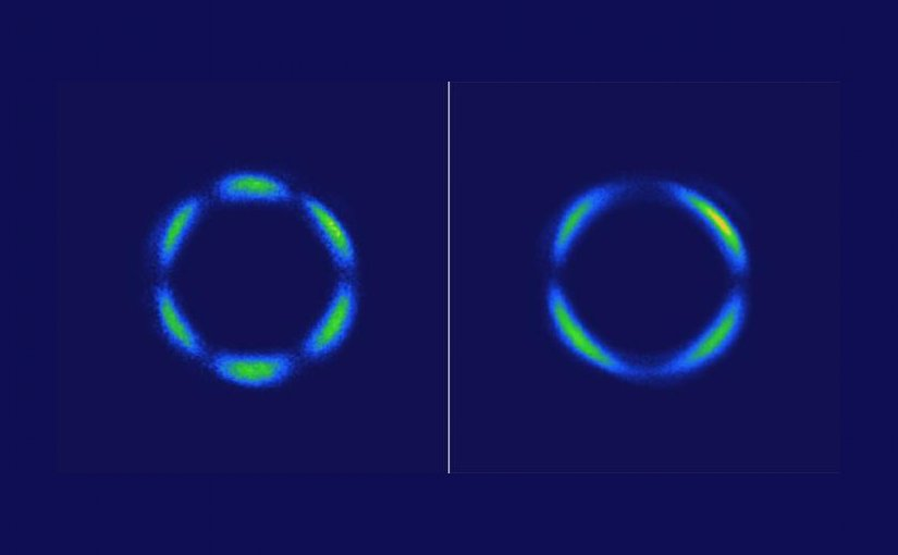 These images show light patterns generated by a rhenium-based crystal using a laser method called optical second-harmonic rotational anisotropy. At left, the pattern comes from the atomic lattice of the crystal. At right, the crystal has become a 3-D quantum liquid crystal, showing a drastic departure from the pattern due to the atomic lattice alone. Credit Hsieh Lab/Caltech