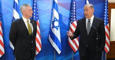 US Defense Secretary Jim Mattis with Israeli Prime Minister Benjamin Netanyahu in Jerusalem, pictured at right. U.S. Embassy Tel Aviv photo by Matty Stern.