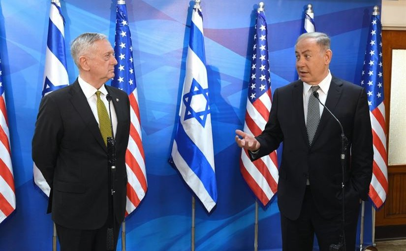 US Defense Secretary Jim Mattis with Israeli Prime Minister Benjamin Netanyahu in Jerusalem, pictured at right. U.S. Embassy Tel Aviv photo by Matty Stern.