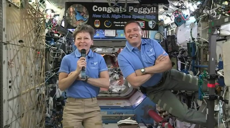 NASA astronaut Peggy Whitson, currently living and working aboard the International Space Station, broke the record Monday for cumulative time spent in space by a U.S. astronaut – an occasion that was celebrated with a phone call from President Donald Trump, First Daughter Ivanka Trump, and fellow astronaut Kate Rubins. Credits: NASA TV