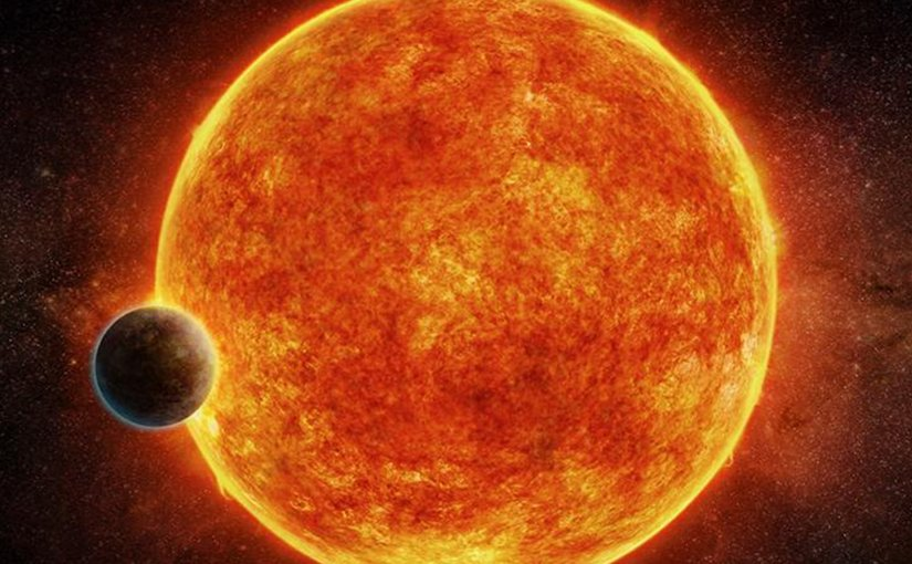 An artist's impression of the newly-discovered rocky exoplanet, LHS 1140b. This planet is located in the liquid water habitable zone surrounding its host star, a small, faint red star named LHS 1140. The planet weighs about 6.6 times the mass of Earth and is shown passing in front of LHS 1140. Depicted in blue is the atmosphere the planet may have retained. Credit M. Weiss/CfA.