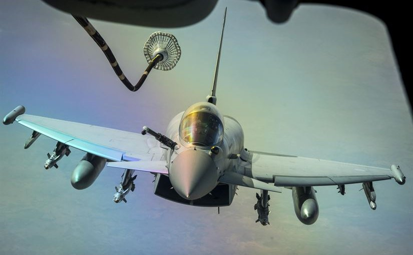 A U.S. Air Force KC-10 Extender refuels a British aircraft during a sortie to support Combined Joint Task Force Operation Inherent Resolve over Iraq, March 22, 2017. Extenders have provided fuel to coalition aircraft to weaken and destroy the Islamic State of Iraq and Syria. Air Force photo by Senior Airman Tyler Woodward