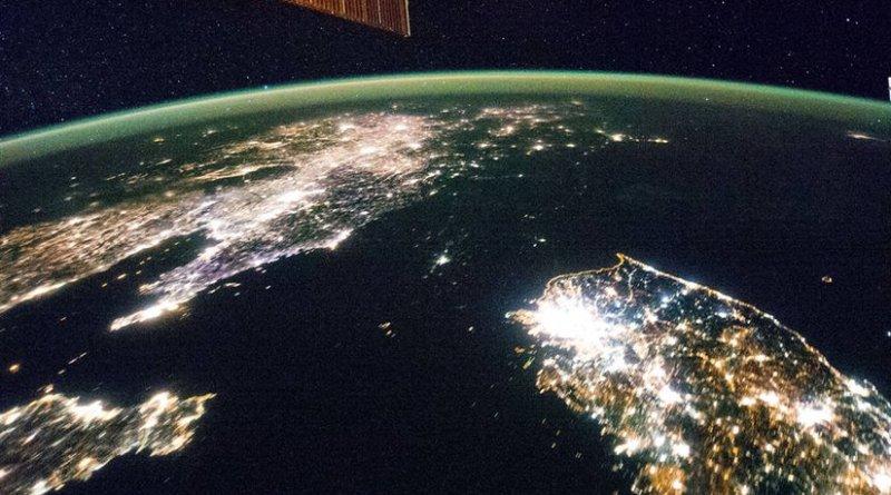 Korean Peninsula seen from Space Station. North Korea's capital city, Pyongyang, appears like a small island. Credit: NASA