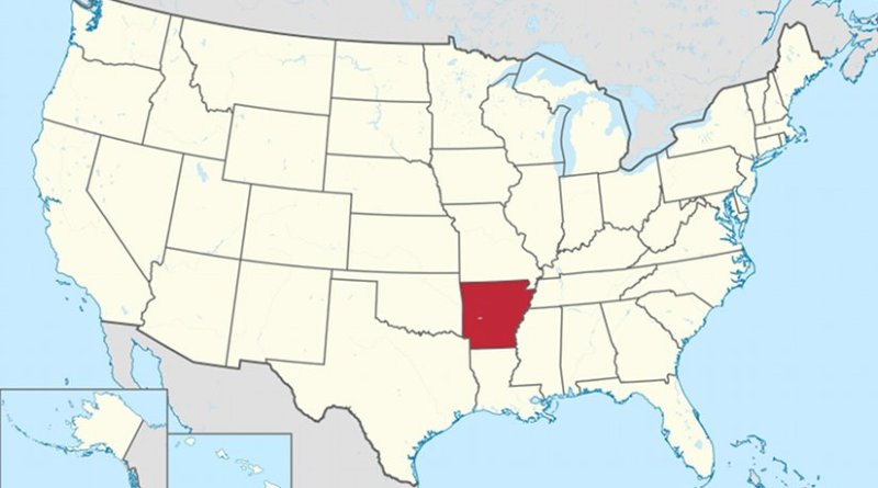 Map of the United States with Arkansas highlighted. Source: Wikipedia Commons.