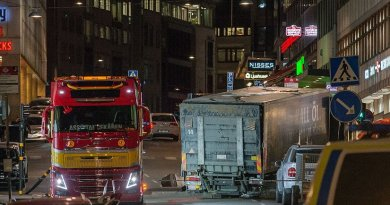 The terrorist attack in Stockholm April 7, 2017. Truck transported away during the night. Photo by Frankie Fouganthin, Wikipedia Commons.