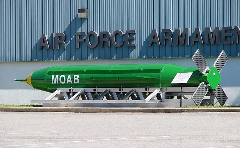 A GBU-43/B Massive Ordnance Air Blast weapon on display outside the Air Force Armament Museum, Eglin Air Force Base, Florida. Photo by Fl295, Wikipedia Commons.