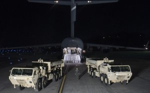 """U.S. Forces Korea continued its progress in fulfilling the South Korea-U.S. alliance decision to install a Terminal High Altitude Area Defense, or THAAD, on the Korean Peninsula as the first elements of the THAAD system arrived in South Korea, March 6, 2017. """"The timely deployment of the THAAD system by U.S. Pacific Command and the secretary of defense gives my command great confidence in the support we will receive when we ask for reinforcement or advanced capabilities,"""" said Army Gen. Vincent K. Brooks, U.S. Forces Korea commander. Army photo"""