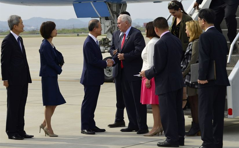 Vice President Mike Pence and his wife, Karen Pence, exchange greetings with South Korean Vice Foreign Minister Lim Sung-nam after arriving at Osan Air Base, South Korea, April 16, 2017. Air Force photo by Alex Fox Echols III