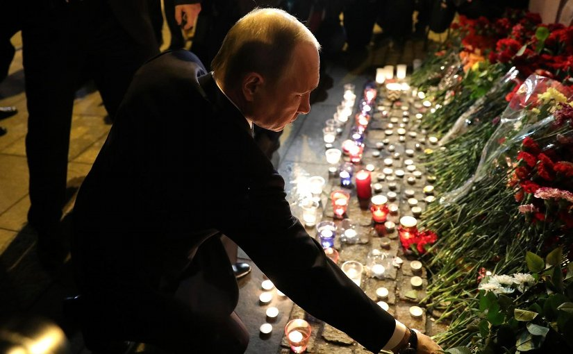 Russia's President Vladimir Putin at scene of Saint Petersburg subway bombing. Photo Credit: The Russian Presidential Press and Information Office, Kremlin.ru, Wikimedia Commons.