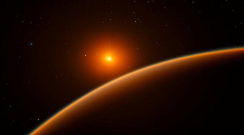 This artist's impression shows the exoplanet LHS 1140b, which orbits a red dwarf star 40 light-years from Earth and may be the new holder of the title 'best place to look for signs of life beyond the Solar System'. Using ESO's HARPS instrument at La Silla, and other telescopes around the world, an international team of astronomers discovered this super-Earth orbiting in the habitable zone around the faint star LHS 1140. This world is a little larger and much more massive than the Earth and has likely retained most of its atmosphere. Credit ESO/spaceengine.org