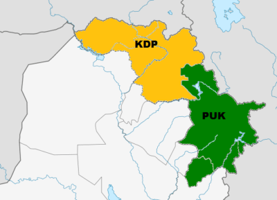 The KDP controls northwestern KRI and the PUK controls the southeastern KRI