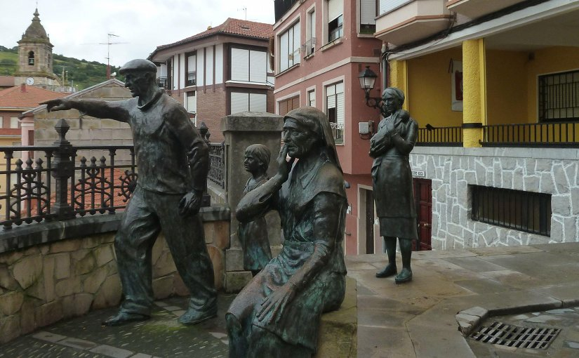 Statues of fishing tragedy in Spain's Basque Country.