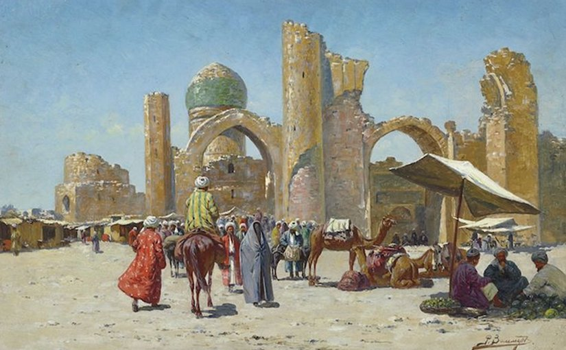 Samarkand, by Richard-Karl Karlovitch Zommer (1866–1939) - Christie's, LotFinder: entry 5146250 (sale 7684, lot 349, London, 26 November 2008). Credit: Wikimedia Commons.
