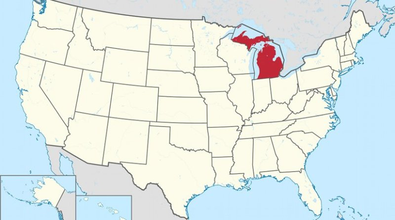 Map of the United States with Michigan highlighted. Source: Wikipedia Commons.
