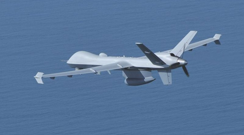 """A U.S. Customs and Border Protection MQ-9 """"Guardian"""" drone. Photo Credit: CBP and USCG, Wikipedia Commons."""