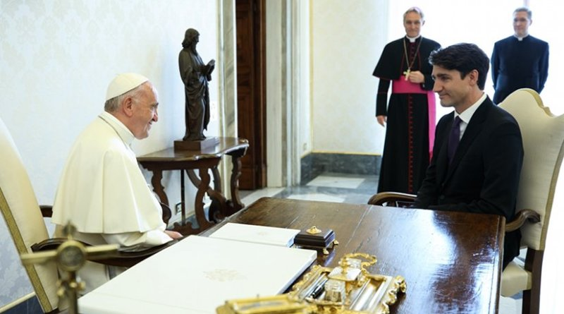 Canada's Prime Minister Justin Trudeau meets His Holiness Pope Francis. Photo Credit: Canada's Prime Minister Office.