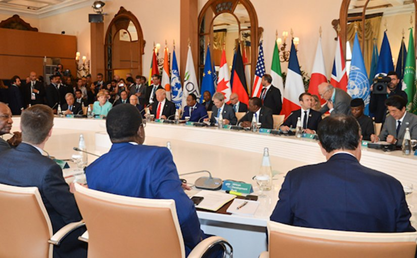 African leaders and heads of international organizations as well as the UN Secretary-General joined G7 heads of state and government on May 27, the concluding day of the Summit. Credit: G7 Italy.