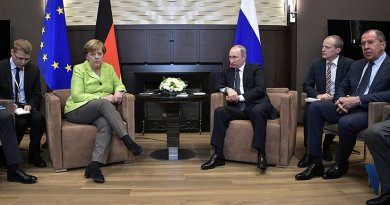 Russia's President Vladimir Putin meets Chancellor of the Federal Republic of Germany Angela Merkel at his Sochi residence. Photo Credit: Kremlin.ru