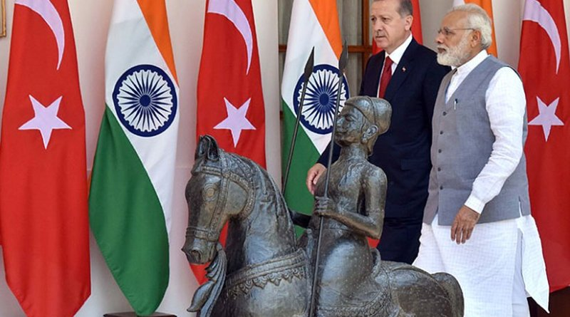 The Prime Minister, Shri Narendra Modi with the President of the Republic of Turkey, Mr. Recep Tayyip Erdogan, at Hyderabad House, in New Delhi. Photo Credit: Office of Prime Minister of India.