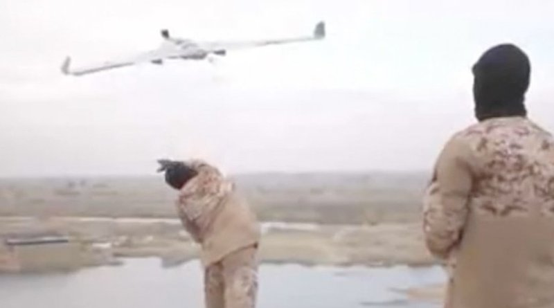 Islamic State terrorists with a small drone; Source: Screenshot from Islamic State video.