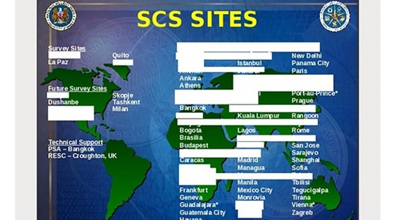 Locations of CIA/NSA Special Collection Service (SCS) eavesdropping sites in 2004. Source: U.S. National Security Agency, Wikipedia Commons.
