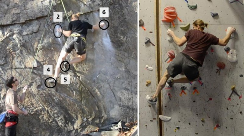 This is a crux of an outdoor climbing route (left) vs. one using fabricated holds (right). Credit Images provided by the study's co-authors.
