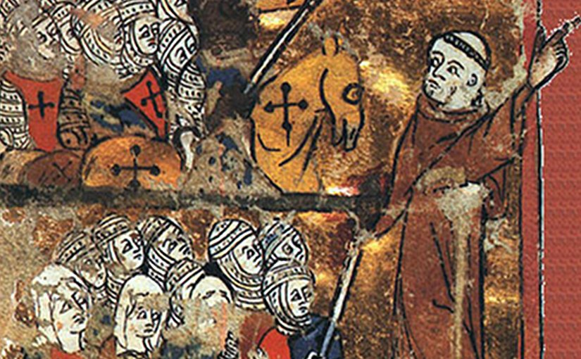 A medieval image of Peter the Hermit leading knights, soldiers, and women toward Jerusalem during the First Crusade
