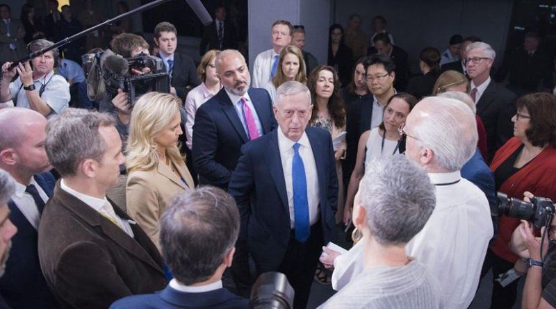 Defense Secretary James Mattis informally speaks to the media before holding a press briefing at the Pentagon to update the media on the campaign against the Islamic State of Iraq and Syria, May 19, 2017. DoD photo by Navy Petty Officer 2nd Class Dominique A. Pineiro