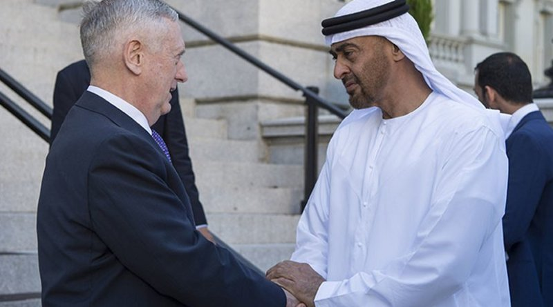 Defense Secretary Jim Mattis meets with United Arab Emirates Crown Prince Mohammed bin Zayed al Nahyan. Photo Credit: Air Force Tech. Sgt. Brigitte N. Brantley / DoD