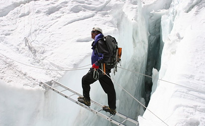 Sherpa mountain guide Pemba Dorjee at Khumbu Ice Fall. Photo Credit: Pem Dorjee Sherpa, Wikipedia Commons.