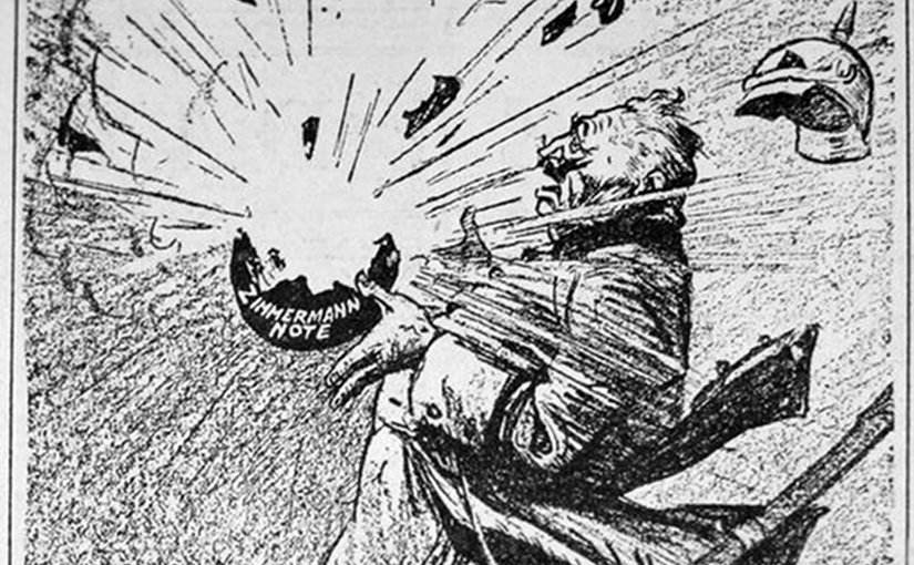 """Exploding in his hands"" - a political cartoon about the Zimmerman Telegram by Rollin Kirby, March 17, 1917."