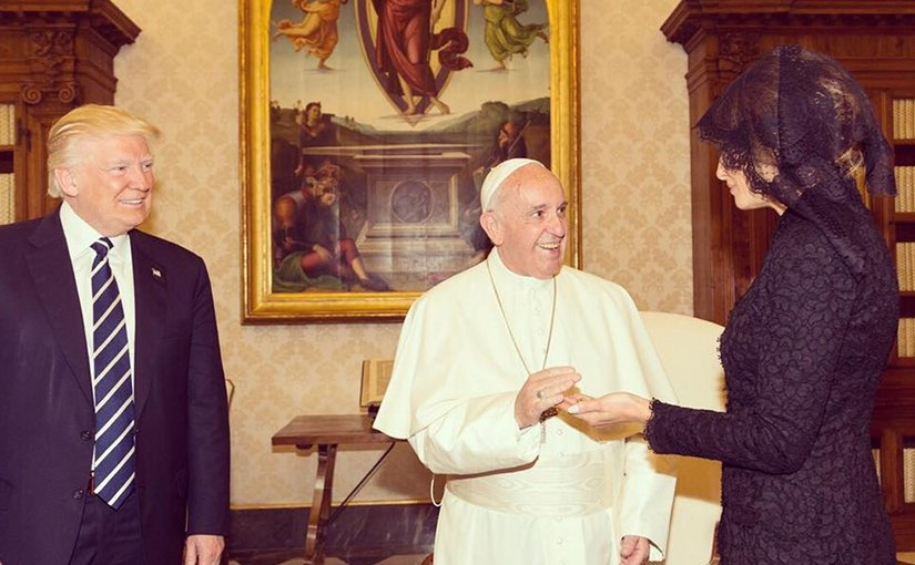 Pope Francis meets with US President Donald Trump and First Lady Melania Trump. Photo Credit: White House.