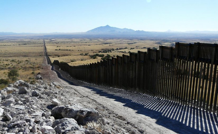 At the US-Mexico border at the Coronado National Memorial/Roosevelt Easement. The wall and wide patrol road cause habitat fragmentation, threatening the well-being of many species. Credit Matt Clark/Defenders of Wildlife