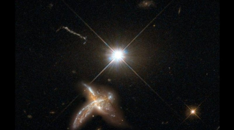 This is an artist's impression of a quasar and neighboring merging galaxy. The galaxies observed by the team are so distant that no detailed images are possible at present. This combination of images of nearby counterparts gives an impression of how they might look in more detail. Credit The image was created by the Max Planck Institute for Astronomy using material from the NASA/ESA Hubble Space Telescope.