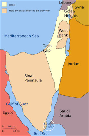 Israeli territorial acquisitions following the Six-Day War. Control of the Golan Heights, the Jordan Valley, and Sinai gave Israel far better military lines of defense than it had before 1967.