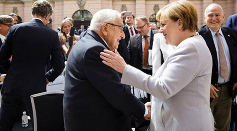 Henry Kissinger and Germany's Angela Merkel in Berlin on 21 June 2017. Source: German Federal Government website