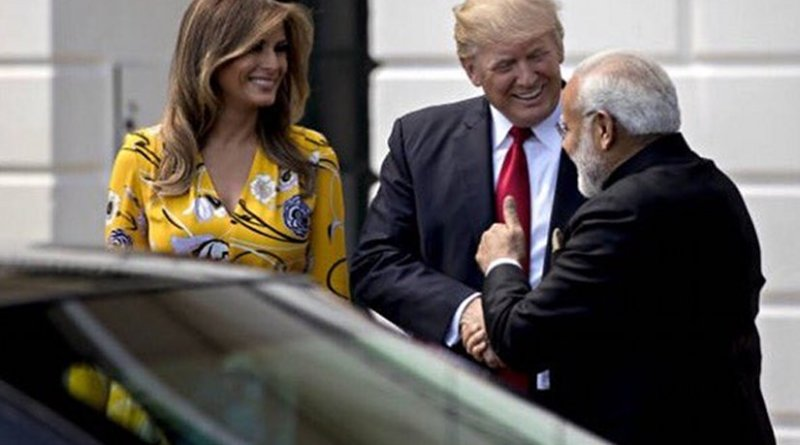 US President Donald Trump and First Lady Melania Trump greet India's Prime Minister Narendra Modi. Photo Credit: White House