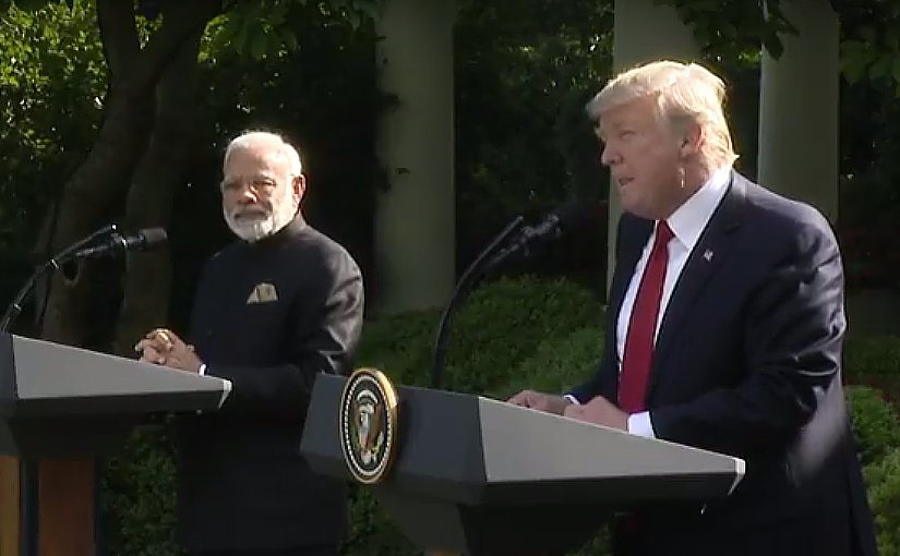 India's PM Narendra Modi and US President Donald Trump at joint press conference. Photo Credit: White House video screenshot.