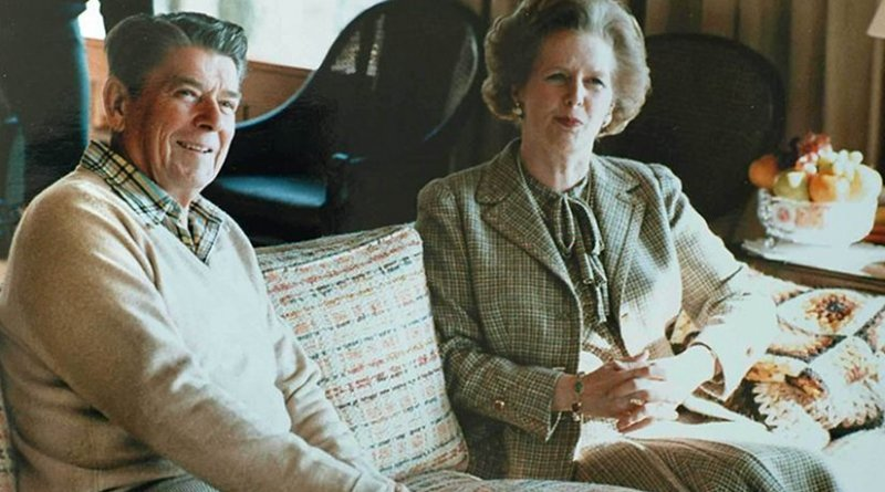Margaret Thatcher with Ronald Reagan at Camp David. Photo Credit: White House Photographic Office, Wikimedia Commons.