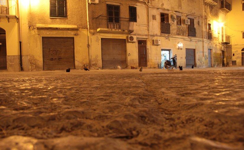 Night street scene in Sicily, Italy
