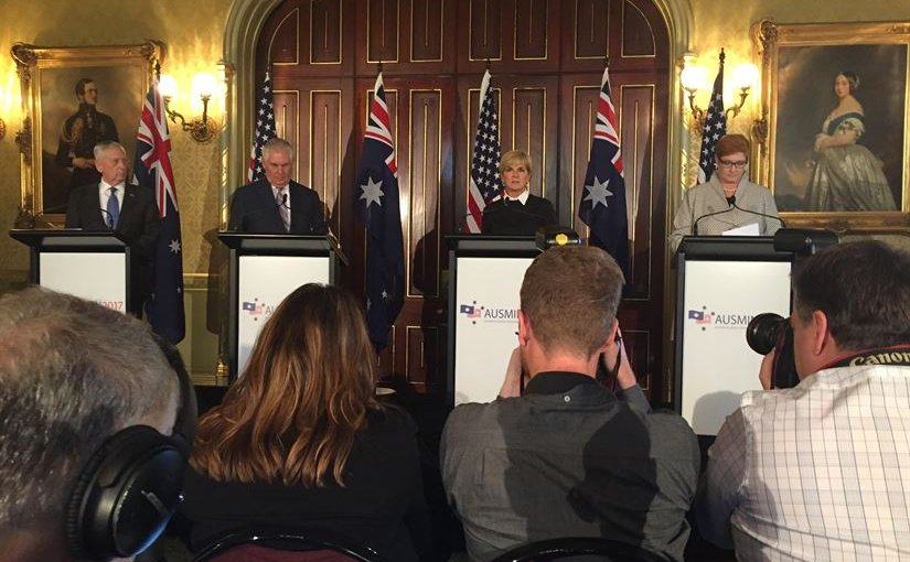 US Defense Secretary Jim Mattis, Secretary of State Rex Tillerson, Australian Foreign Minister Julie Bishop and Australian Defense Minister Marise Ann Payne speak to the press about the Australia-U.S. Defense Ministerial Consultations held in Sydney, June 5, 2017. DoD photo by Jim Garamone
