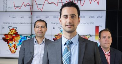 """""""In addition to India, populations in other developing countries in low- to mid-latitude regions are especially hard hit by these extreme heat events,"""" says the study's lead author, Omid Mazdiyasni, here flanked by co-authors Amir AghaKouchak (left) and Steven J. Davis. Credit Steve Zylius / UCI"""