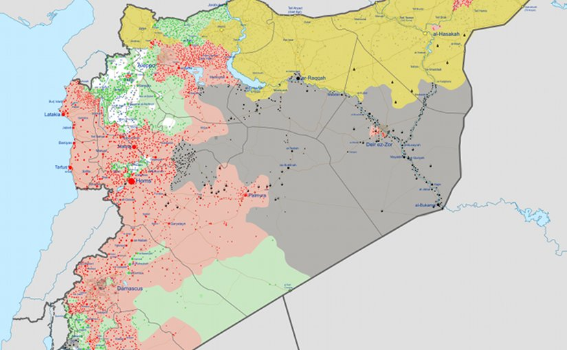 Map of the Syrian Civil War as of June 7, 2017. Red: Syrian government, Green: Syrian opposition, Yellow: Rojava (SDF), Grey: Islamic State of Iraq and the Levant, White: Tahrir al-Sham. Source: Wikipedia Commons.