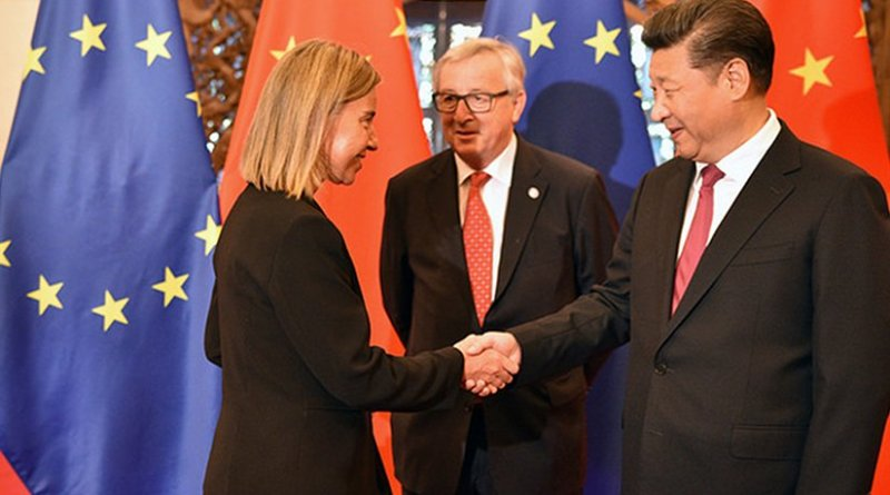 Federica Mogherini and Xi Jinping shake hands at the 18th EU-China Summit in Beijing. Photo: European External Action Service
