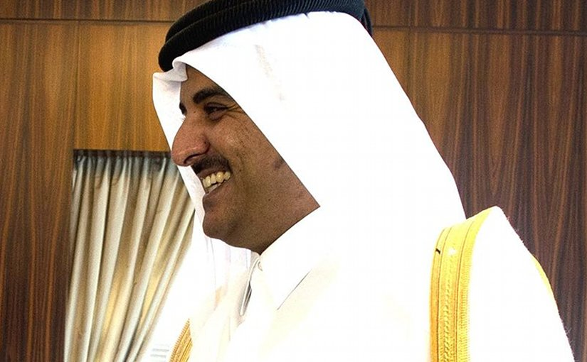 Qatar's Sheikh Tamim bin Hamad Al Thani. Photo by Chuck Hagel, Wikimedia Commons.