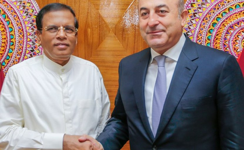 Sri Lanka President Maithripala Sirisena and Turkey's Foreign Minister Mevlüt Çavuşoğlu. Credit: Sri Lanka Government