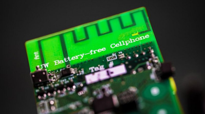 UW engineers have designed the first battery-free cellphone that can send and receive calls using only a few microwatts of power. Credit Mark Stone/University of Washington