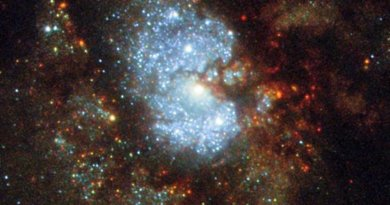 C 342 is a challenging cosmic target. Although it is bright, the galaxy sits near the equator of the Milky Way's galactic disk, where the sky is thick with glowing cosmic gas, bright stars, and dark, obscuring dust. In order for astronomers to see the intricate spiral structure of IC 342, they must gaze through a large amount of material contained within our own galaxy -- no easy feat! As a result IC 342 is relatively difficult to spot and image, giving rise to its intriguing nickname: the 'Hidden Galaxy.' Credit ESA/Hubble & NASA