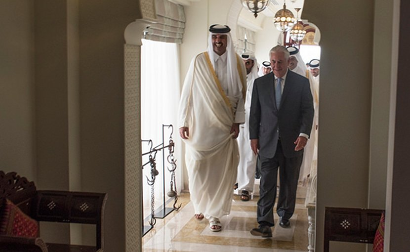 U.S. Secretary of State Rex Tillerson meets with the Emir of Qatar, His Highness Sheikh Tamim Bin Hamad Al Thani, at the Sea Palace in Doha, Qatar on July 11, 2017. [State Department photo/ Public Domain]
